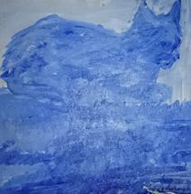 Katten Sprint malt av Solveig Løvhaug